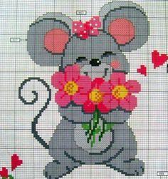 soricel cu un buchet de flori - model de cusut