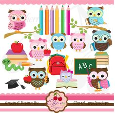 School owls digital clipart set for -Personal and Commercial Use-paper crafts,card making,scrapbooking,web design by Cherryclipart on Etsy https://www.etsy.com/uk/listing/105706175/school-owls-digital-clipart-set-for