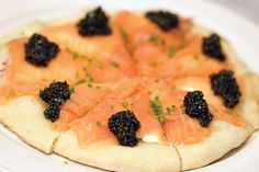 Smoked Salmon and Caviar Pizza Recipe adapted from adapted from Wolfgang Puck Cookbook