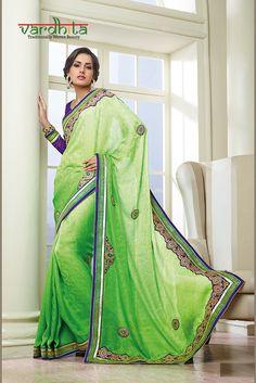 0891b68ad5373 Parrot Green And Purple Jacquard Saree Green Saree