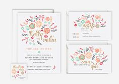 Printable/digital pink and mint floral/flower wedding invitation; These would look great printed on our eco-friendly cardstock; a great Etsy collaboration!