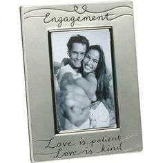 Silver Engagement Photo Frame | Engagement Party Gifts For Couples, Him, Her, Bride, Groom | Wedding Gifts