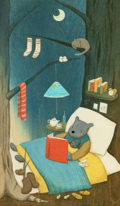 lectura_Naoko - bear reading in his tree-bed I Love Books, Good Books, My Books, Reading Art, Kids Reading, World Of Books, Book Images, Children's Book Illustration, Story Time