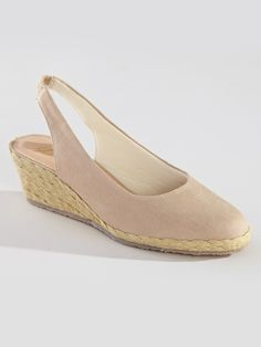 Easy-to-wear canvas espadrilles have a sling strap with covered elastic inset at the heel - Southport Style Sling Espadrille by Beacon® at Bedford Fair