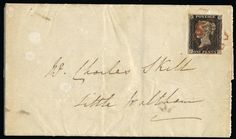 """GB 1840 SG2 Pl.2 Cover 1840 1d Black Pl.2. Very fine used close to large four margin example lettered JC neatly tied to entire by a red MC, sent from Maldon to Little Waltham and backstamped with a crisp Maldon cds for MY.15.1840. Attractive provincial """"May date"""" usage."""
