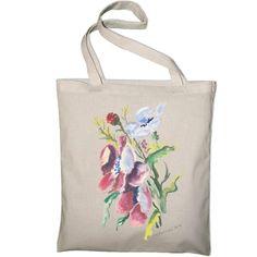Shopping bag Watercolor wild flowers. Torba natural, akwarela kwiaty polne. Oryginalny prezent.