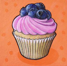 Blueberry Orange by Kathrine Allen-Coleman Sea Cupcakes, Blueberry Cupcakes, Cupcake Painting, Cupcake Drawing, Dessert Illustration, Illustration Art, Cupcake Torte, Art Analysis, Food Artists