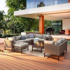 Sol 72 Outdoor™ Merlyn 11 Piece Sectional Seating Group with Cushions | Wayfair Outdoor Seating, Outdoor Sofa, Outdoor Furniture Sets, Outdoor Decor, Outdoor Spaces, Outdoor Play, Outdoor Dining, Grey Cushions, Seat Cushions