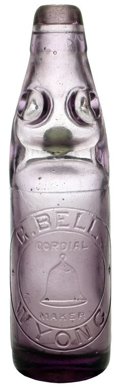 Bell, Wyong. Dobson or Four way type Codd marble bottle. Amethyst glass. c1910s