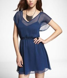 $41.93 // CREPE CHIFFON ELASTIC WAIST DRESS at Express