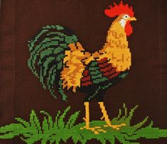 Easthern retro vintage 1960s cross-stitch hand-embroidery multicolor cock motive wallhanging made on thick darkbrown cotton aida-fabric by NORDICARTCURIOSITY on Etsy https://www.etsy.com/listing/182259980/easthern-retro-vintage-1960s-cross