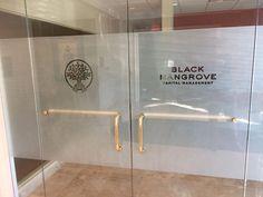 ideas for glass office door foyers Glass Film Design, Frosted Glass Design, Frosted Glass Door, Medical Office Design, Office Interior Design, Office Interiors, Glass Office Doors, Foyers, Office Signage
