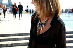 black v- neck shirt & statement necklace