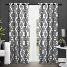 """Exclusive Home Ironwork Blackout Thermal Grommet Top Window Curtain Panels, 52"""" x 84"""", Black Pearl, Set of 2"""
