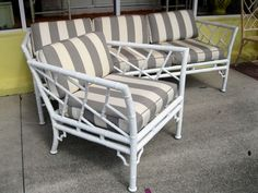 Vintage Metal Faux Bamboo Chippendale Sofa & Chair