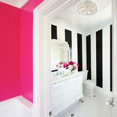 black & white stripes, pink bathroom