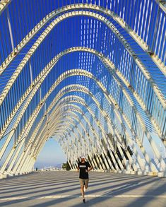 When in Athens, do as the Athenians do: Go jogging at the Santiago Calatrava-designed Olympic Sports Complex 📸 Chinese Architecture, Modern Architecture House, Futuristic Architecture, Modern Houses, Athens Hotel, Go Jogging, Sports Complex, Olympic Sports, Zaha Hadid Architects