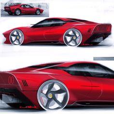 Ferrari Homage by Andhika Dimas Car Design Sketch, Car Sketch, Muscle Cars, Automotive Design, Auto Design, Design Art, Ferrari 288 Gto, Automobile, Industrial Design Sketch