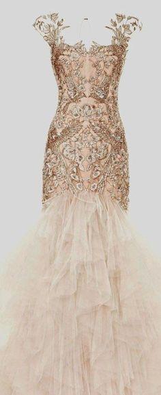 Glamorous gold bridal gown #wedding #gold #goldwedding #dress #bride