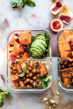 Meal Prep Moroccan Chickpea, Sweet Potato, and Cauliflower Bowls. - Half Baked Harvest