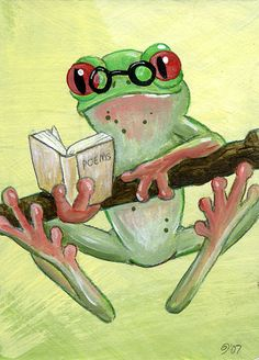 Studious Frog ATC by ~spiraln on deviantART