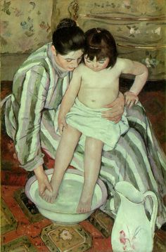 Mary Cassatt (American, The Child's Bath. Oil on canvas. Mary Cassatt is well-known for a natural depictions of ordinary events in the lives of mothers and their children. Edgar Degas, Claude Monet, Georges Seurat, Bath Art, Francisco Goya, Edouard Manet, Camille Pissarro, Thinking Day, Art Institute Of Chicago