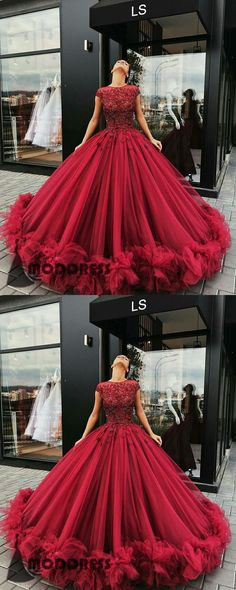 Applique Wedding Dresses Scoop Evening Dresses Ball Gowns Cap Sleeve Bridal Dress Long Prom Dresses,HS589 #fashion#promdress#eveningdress#promgowns#cocktaildress