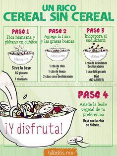 Un rico cereal sin cereal. Healthy Habits, Healthy Tips, Healthy Snacks, Healthy Eating, Healthy Recipes, Raw Food Recipes, Veggie Recipes, Comida Diy, Vegan Life
