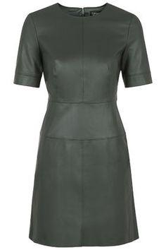 Top Shop Faux Leather Shift Dress