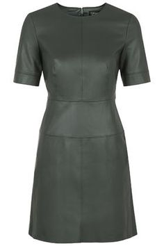 Topshop green faux leather dress size 8