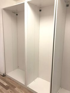 Learn how to build in ikea Pax wardrobes to make them look more custom! Ikea Pax Hack, Ikea Closet Hack, Ikea Pax Wardrobe, Closet Hacks, Built In Wardrobe, Wardrobe Storage, Ikea Hacks, Bedroom Closet Design, Closet Designs