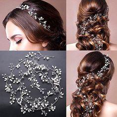 Vintage Wedding Bridal Pearl Headband Tiara Long Hair Chain Crystal Headpiece TR | eBay