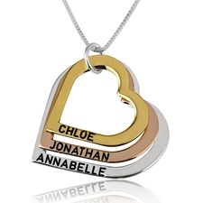be2c4ae63293 Three Toned Engraved Hearts Mother Necklace