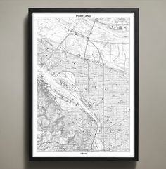 Portland is a city of artists, dreamers and thinkers. This Portland map print poster not only shows its streets, parks, bridges and highways, it also shows the distinct divide of the Willamette River. #portland-map-print