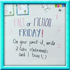 Fact or Fiction Friday                                                                                                                                                                                 More