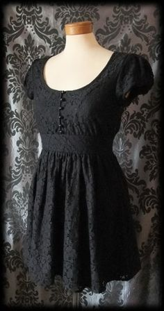 Gothic Black Lace Tiny Button LILITH'S LOVER Victorian Tea Dress 8 10 Vintage…