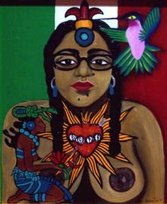 """Jane Madrigal,"" self portrait w/ the immaculate heart of Mary bleeding onto a flower offering held by a Mayan love goddess signifying the sacrifices woman do for love. There is a hummingbird about to pierce an aztec flower symbol on the third eye symbolizing the dreams, joy, and beauty of woman."" [She is also depicted partially nude, braided hair on each side, wearing dark framed glasses and has distinctive moles on her face--one near her left nostril and 2 diagonally below her lower lip.]"