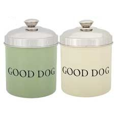 "ur ProSelect® Good Dog Treat Canisters are a great way to keep dog treats fresh. This stainless steel canister features an elegant color exterior in two color choices that are sure to match any home decor. The words ""GOOD DOG"" on the side add the perfect touch.      * Stainless steel     * Vibrant color exterior     * Airtight seal to keep treats fresh     * Dishwasher safe"