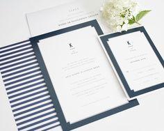 Navy Blue Wedding Invitations - Elegant Border - Wedding Invitations by Shine