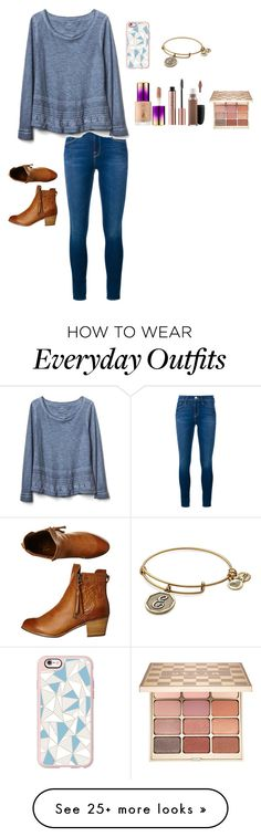 """""""Simple everyday outfit"""" by emipooh on Polyvore featuring Frame, Gap, Billabong, Casetify, Stila, tarte, MAC Cosmetics and Alex and Ani"""
