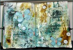 Creativity: today these art journal pages arecreated with Bister. Such fun stuff, I used mahogany and blue.
