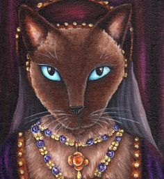 Catherine Howard Cat, Siamese Cat, Fifth Wife of King Henry VIII .... the Tudor Cats Collection by TaraFlyArt.