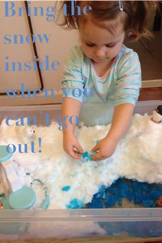 Snow play! I was a little under the weather and so didn't fancy a trip out in the snow (bad mummy!) so we brought it inside. Added a little blue food colouring, blue glitter and arctic (and Antarctic) animals and we had a lovely snow themed small world sensory play activity.  Adventures with Isla-Brae Sensory Table, Sensory Play, Blue Food Coloring, Colouring, Play Activity, Arctic Animals, Toddler Play, Kids Church, Early Childhood Education