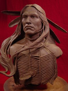 Wind In His Hair Clay Sculpture