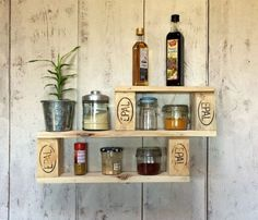 Wooden spice rack Wooden spice rack Get more photo about subject related with b Wooden Pallet Furniture, Wooden Pallets, Palettes Murales, Palette Table, Wood Spice Rack, Kitchen Pantry Design, Design Palette, Home Interior Design, Bathroom Medicine Cabinet