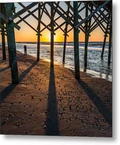 Folly Beach Metal Print featuring the photograph Morning Reflection At Folly Beach Pier by Donnie Whitaker