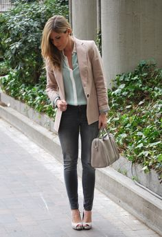 Just Soft Colours. #outfit   , Zara in Shirt / Blouses, Zara in Blazers, Zara in Jeans, Massimo Dutti in Heels / Wedges