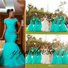 f05b40b7e1f Turquoise Bridesmaid Dresses Hot South Africa Style Nigerian Plus Size  Mermaid Maid Of Honor Gowns For Wedding Off Shoulder Tulle Dress