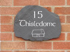 Welsh slate, engraved with Tolkien font Personalized Signs For Home, Name Plates For Home, Sign Fonts, Slate Signs, House Names, Rustic Stone, Exterior Lighting, Home Signs, The Incredibles