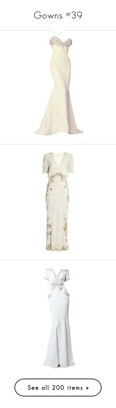 """""""Gowns #39"""" by jewelsinthecrown ❤ liked on Polyvore featuring dresses, gowns, alexis mabille dress, white dress, white evening dresses, alexis mabille, white gown, cream silver, white velvet dress and white v neck dress"""